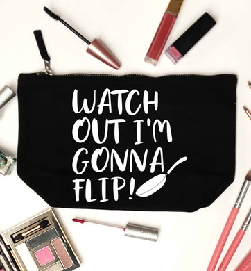 Watch out I'm gonna flip! black makeup bag