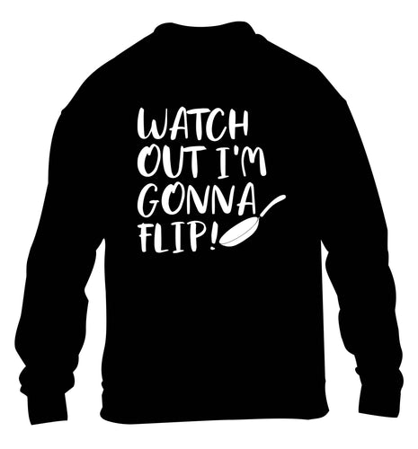 Watch out I'm gonna flip! children's black sweater 12-13 Years