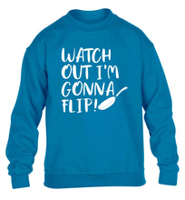 Watch out I'm gonna flip! children's blue sweater 12-13 Years