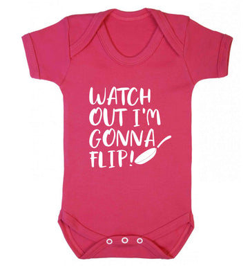 Watch out I'm gonna flip! baby vest dark pink 18-24 months