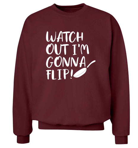 Watch out I'm gonna flip! adult's unisex maroon sweater 2XL