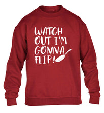 Watch out I'm gonna flip! children's grey sweater 12-13 Years