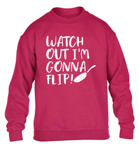 Watch out I'm gonna flip! children's pink sweater 12-13 Years