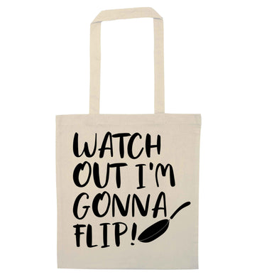 Watch out I'm gonna flip! natural tote bag
