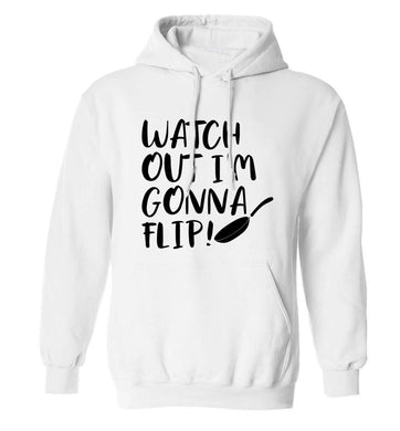 Watch out I'm gonna flip! adults unisex white hoodie 2XL