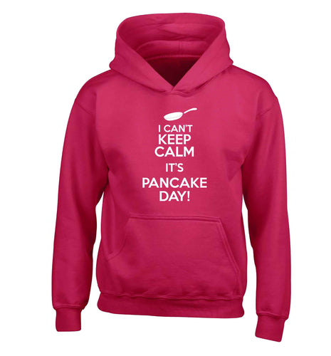 I can't keep calm it's pancake day! children's pink hoodie 12-13 Years