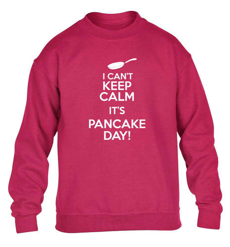 I can't keep calm it's pancake day! children's pink sweater 12-13 Years