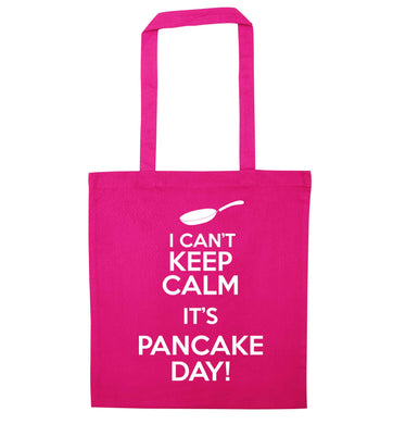 I can't keep calm it's pancake day! pink tote bag
