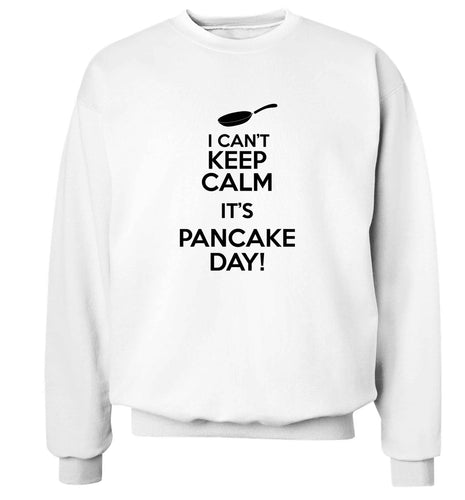I can't keep calm it's pancake day! adult's unisex white sweater 2XL