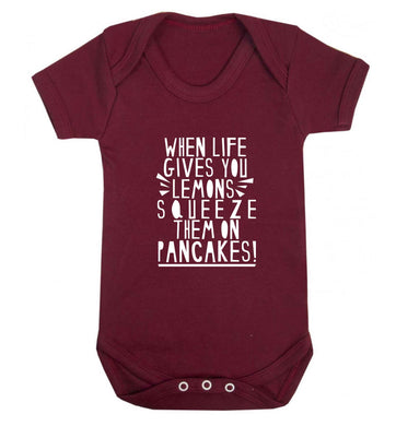 When life gives you lemons squeeze them on pancakes! baby vest maroon 18-24 months