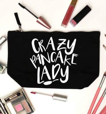 Crazy pancake lady black makeup bag