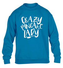 Crazy pancake lady children's blue sweater 12-13 Years