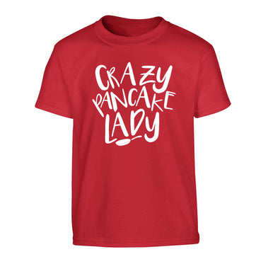 Crazy pancake lady Children's red Tshirt 12-13 Years