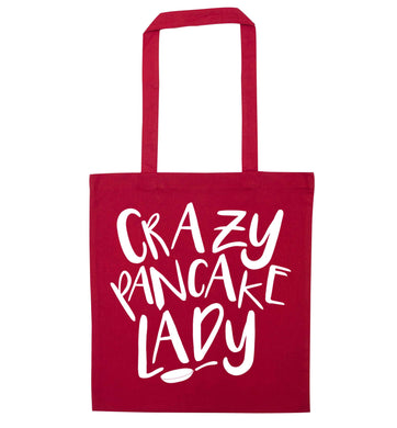 Crazy pancake lady red tote bag