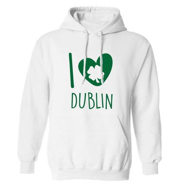 I love Dublin adults unisex white hoodie 2XL