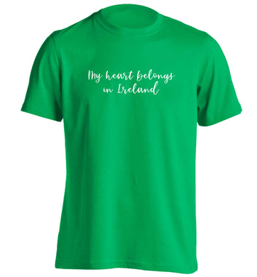 My heart belongs in Ireland adults unisex green Tshirt 2XL