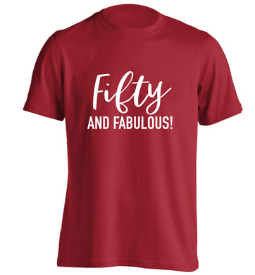 Fifty and fabulous adults unisex red Tshirt 2XL