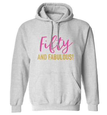 Fifty and fabulous adults unisex grey hoodie 2XL