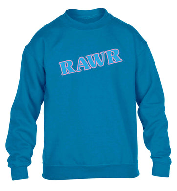 Rawr children's blue sweater 12-13 Years