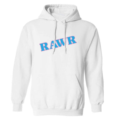 Rawr adults unisex white hoodie 2XL