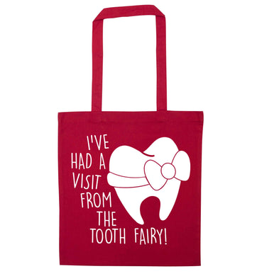 Visit From Tooth Fairy red tote bag
