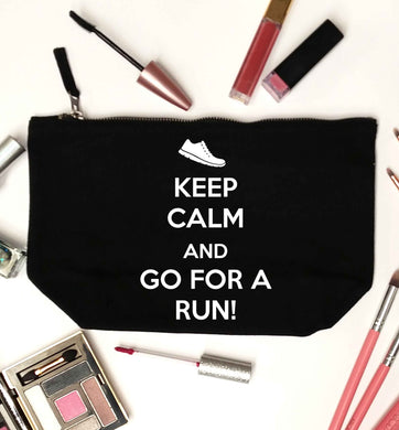 Keep calm and go for a run black makeup bag