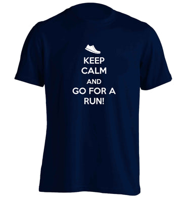 Keep calm and go for a run adults unisex navy Tshirt 2XL