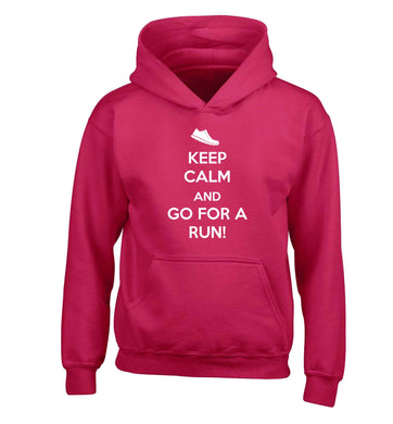 Keep calm and go for a run children's pink hoodie 12-13 Years