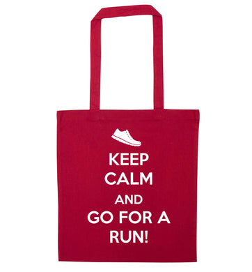 Keep calm and go for a run red tote bag