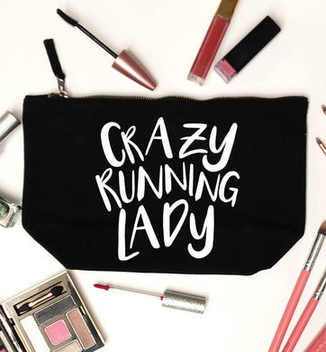 Crazy running lady black makeup bag