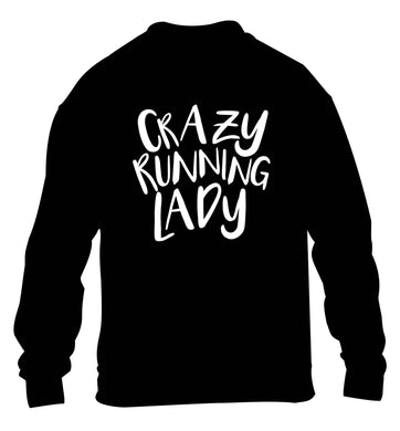 Crazy running lady children's black sweater 12-13 Years