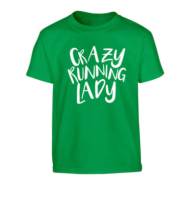 Crazy running lady Children's green Tshirt 12-13 Years