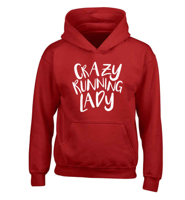 Crazy running lady children's red hoodie 12-13 Years