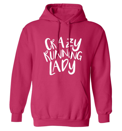 Crazy running lady adults unisex pink hoodie 2XL