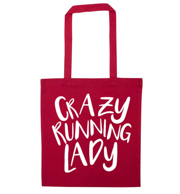 Crazy running lady red tote bag