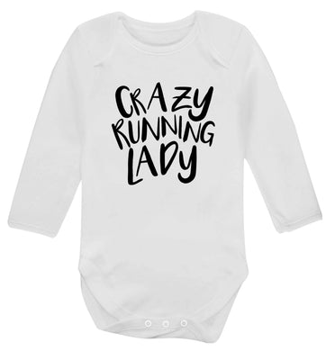 Crazy running lady baby vest long sleeved white 6-12 months