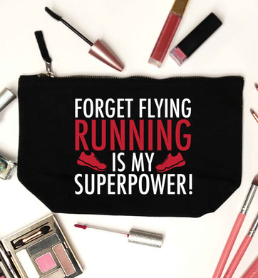 Forget flying running is my superpower black makeup bag