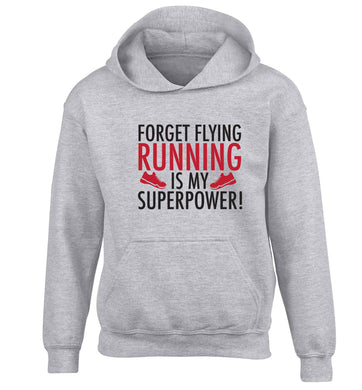 Crazy running dude children's grey hoodie 12-13 Years