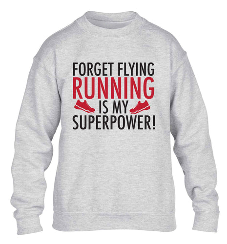 Crazy running dude children's grey sweater 12-13 Years