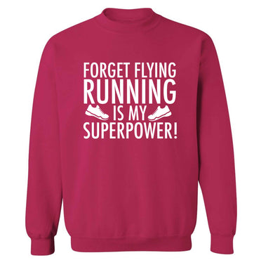 Forget flying running is my superpower adult's unisex pink sweater 2XL