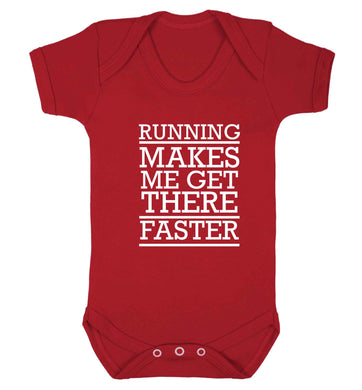 Running makes me get there faster baby vest red 18-24 months