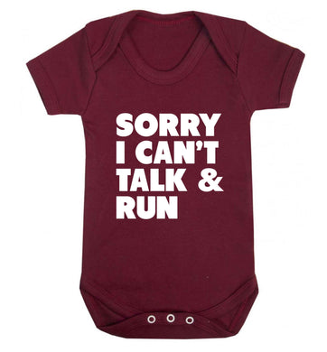 Sorry I can't talk and run baby vest maroon 18-24 months