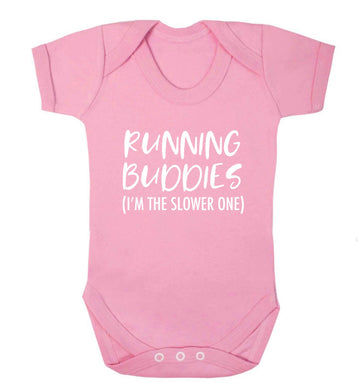 Running buddies (I'm the slower one) baby vest pale pink 18-24 months