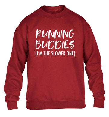 Running buddies (I'm the slower one) children's grey sweater 12-13 Years