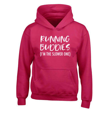Running buddies (I'm the slower one) children's pink hoodie 12-13 Years