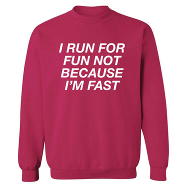 I run for fun not because I'm fast adult's unisex pink sweater 2XL
