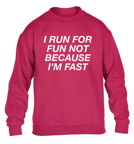 I run for fun not because I'm fast children's pink sweater 12-13 Years