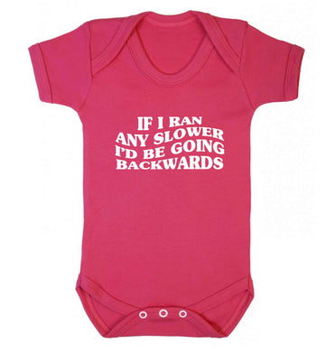 If I ran any slower I'd be going backwards baby vest dark pink 18-24 months