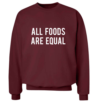 All foods are equal adult's unisex maroon sweater 2XL