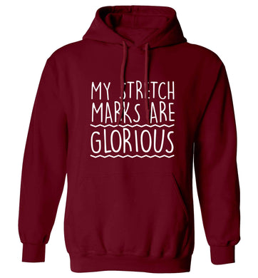 My stretch marks are glorious adults unisex maroon hoodie 2XL